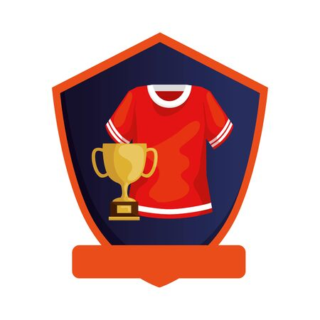american football shirt with trophy in shield isolated icon vector illustration design
