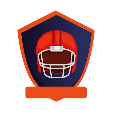 american football helmet in shield isolated icon vector illustration design