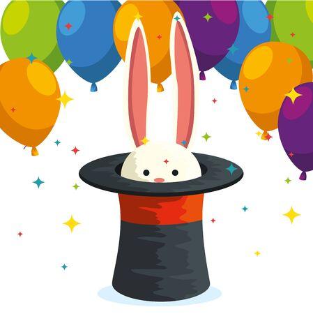 rabbit wild animal inside hat and balloons festival decoration vector illustration Ilustracja