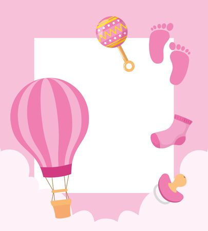 balloon air hot with cute icons for baby vector illustration design