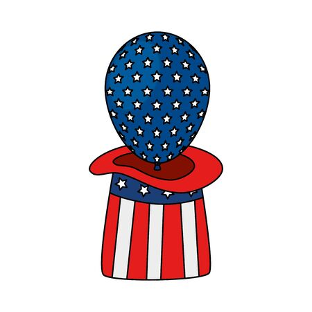 Usa balloon inside hat design, United states america independence labor day nation us country and national theme Vector illustration