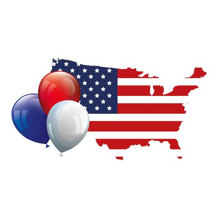 map of usa with flag and balloons helium vector illustration design