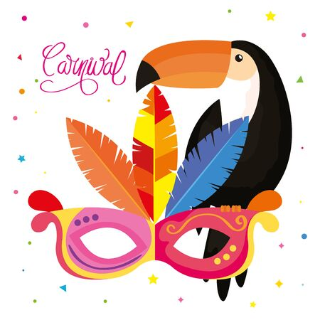 poster of carnival brazil with mask carnival and toucan vector illustration design