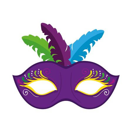 Mardi gras mask with feathers design, Party carnival decoration celebration festival holiday fun new orleans and traditional theme Vector illustration