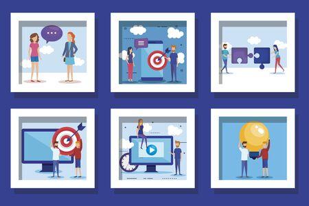 bundle of teamwork people icons vector illustration design Ilustracja