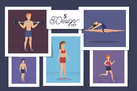 five designs of people practicing exercise vector illustration design