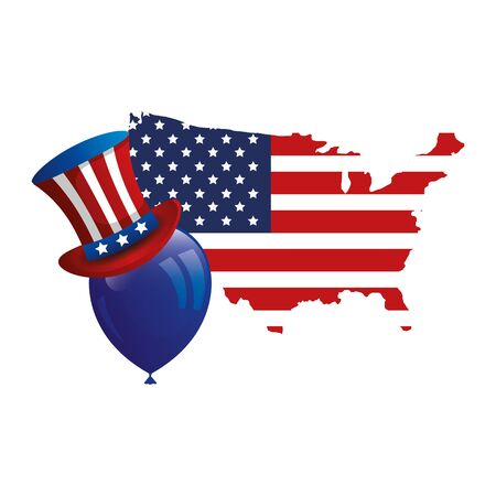 top hat traditional with map usa and balloon helium vector illustration design