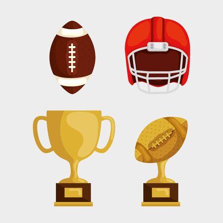 set icons of american football vector illustration design Ilustrace