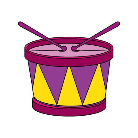 Drum instrument design, Music sound melody song musical art and composition theme Vector illustration Ilustração