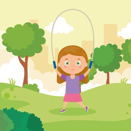 cute little girl jumping rope in park landscape vector illustration design Illusztráció