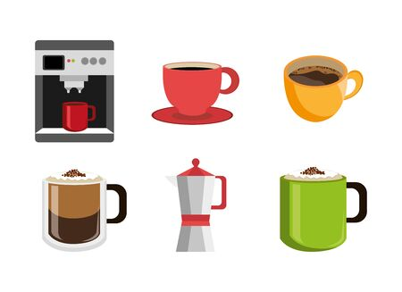 set of delicious coffee icons vector illustration design