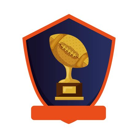 ball american football trophy in shield isolated icon vector illustration design