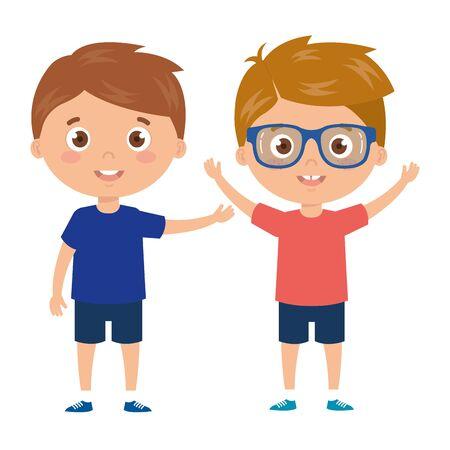handsome boys standing on white background vector illustration design Stock Illustratie