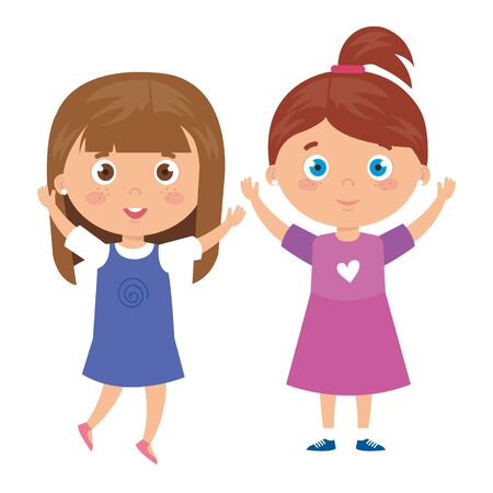 beautiful girls standing on white background vector illustration design Ilustrace