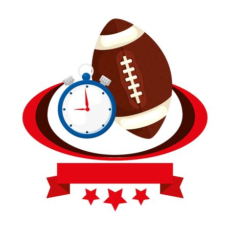 ball american football and chronometer with ribbon and stars vector illustration design Ilustrace