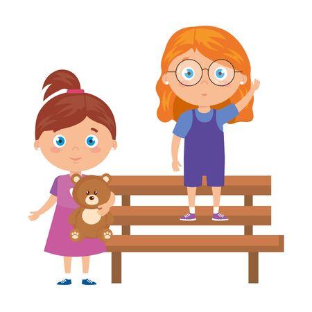 girls on park chair on white background vector illustration design