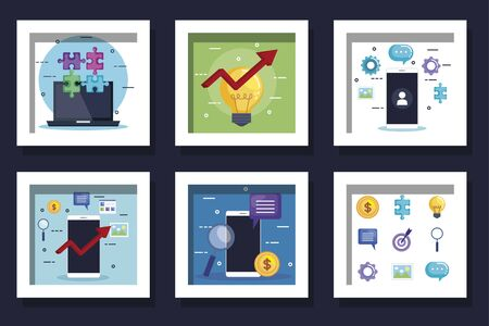 bundle of smartphone and business icons vector illustration design