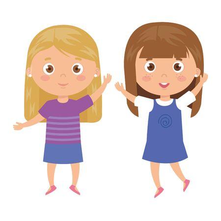beautiful girls standing on white background vector illustration design Иллюстрация