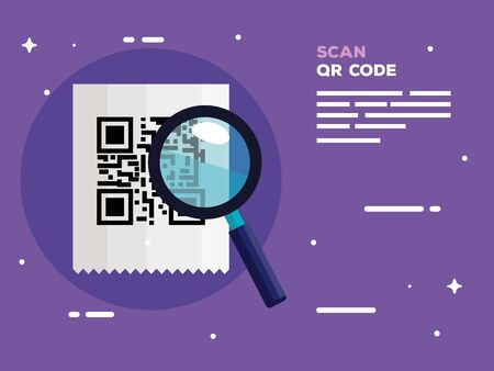 scan qr code with magnifying glass vector illustration design Ilustracja
