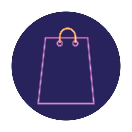 shopping bag in neon light, valentine day vector illustration design