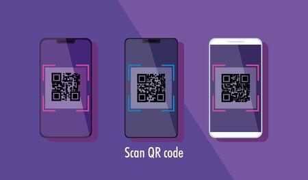 scan qr code with smartphones vector illustration design