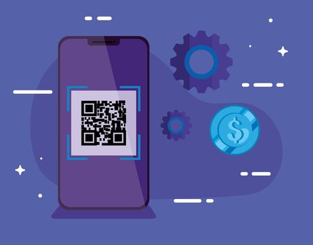 smartphone with scan code qr and icons vector illustration design