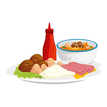 bottle sauces with dishes of food vector illustration design Ilustracja
