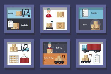 bundle designs of logistic service icons vector illustration design Çizim