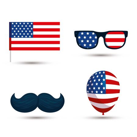 Usa flag glasses mustache and balloon design, United states america independence nation us country and national theme Vector illustration Ilustracja