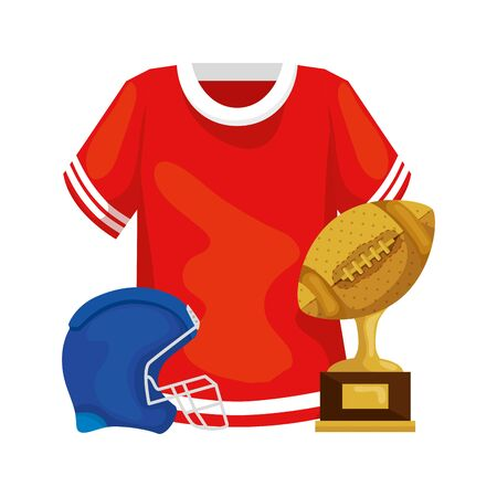 trophy with helmet and shirt of american football vector illustration design 矢量图像