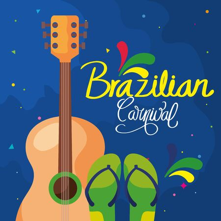 poster of carnival brazil with guitar and flip flops vector illustration design 일러스트