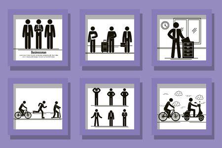 bundle of silhouettes of men doing activities vector illustration design Ilustracja