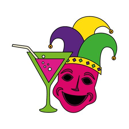 Mardi gras hat mask and cocktail design, Party carnival decoration celebration festival holiday fun new orleans and traditional theme Vector illustration