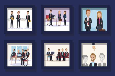 bundle of scenes business people vector illustration design Ilustracja