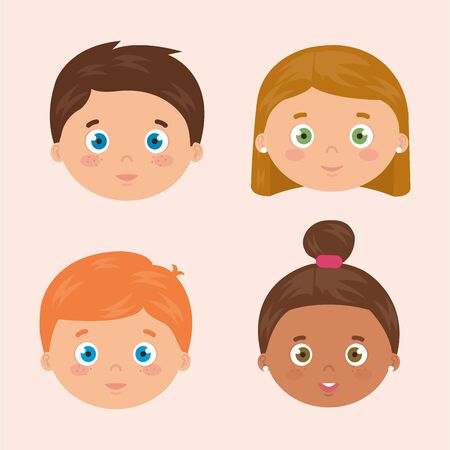 group of faces little children avatar characters vector illustration design