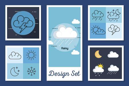bundle designs of weather forecast vector illustration design Vector Illustration