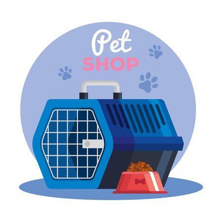 pet shop with box transport animal with dish food vector illustration design Ilustración de vector