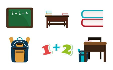 bundle of school supplies icons vector illustration design