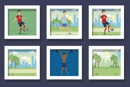 bundle of men practicing exercise vector illustration design Ilustracja
