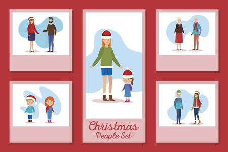 designs of christmas people set vector illustration design Stock Illustratie
