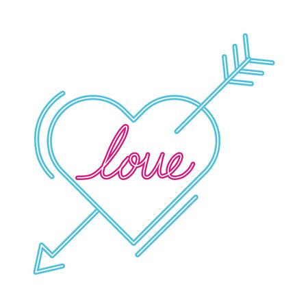 love lettering in heart with arrow isolated icon vector illustration design