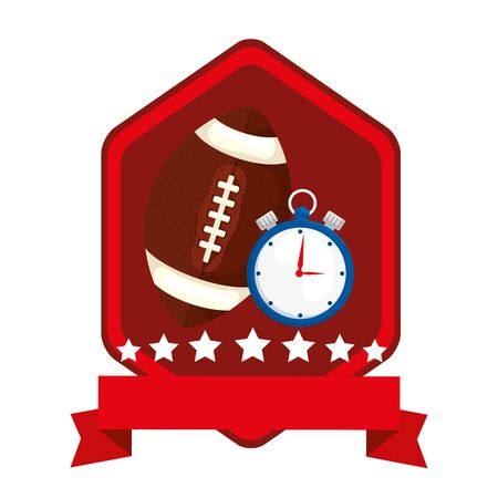 emblem with chronometer and ball american football vector illustration design