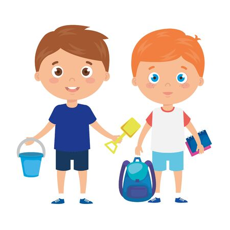 cute little boys with school bag and toys vector illustration design
