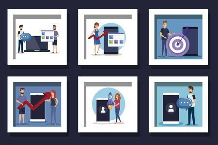 bundle of people and business icons vector illustration design