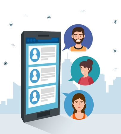 smartphone device with chat isolated icon vector illustration design