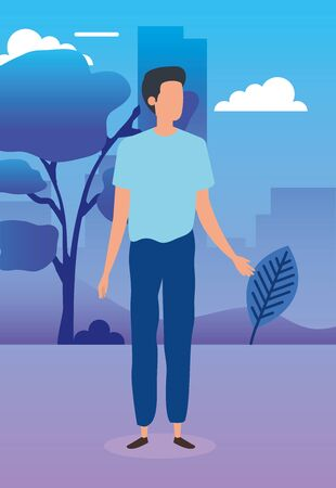 young man in park nature characters vector illustration design