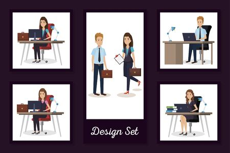 designs set of business people in the workplace vector illustration design