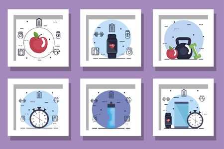 bundle of fitness set icons vector illustration design