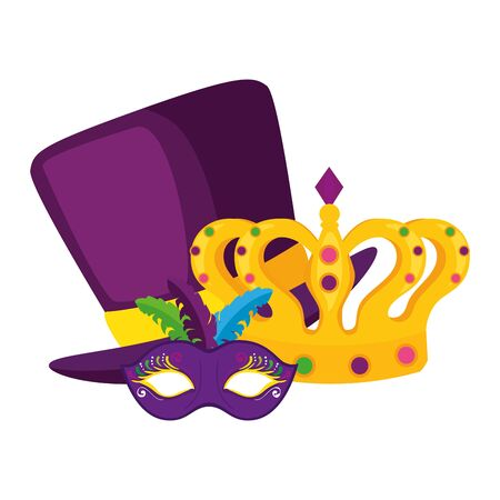 Mardi gras mask hat and crown design, Party carnival decoration celebration festival holiday fun new orleans and traditional theme Vector illustration Ilustração
