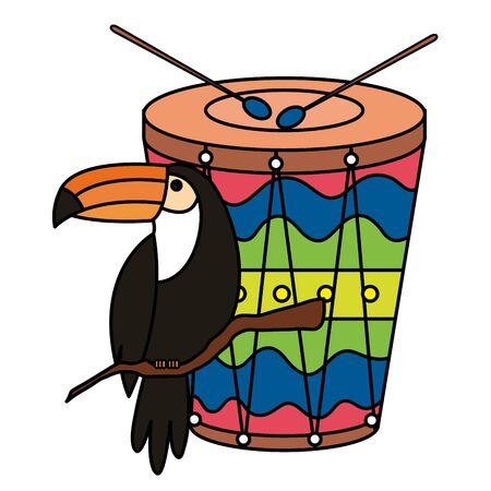 toucan animal exotic with drum isolated icon vector illustration design